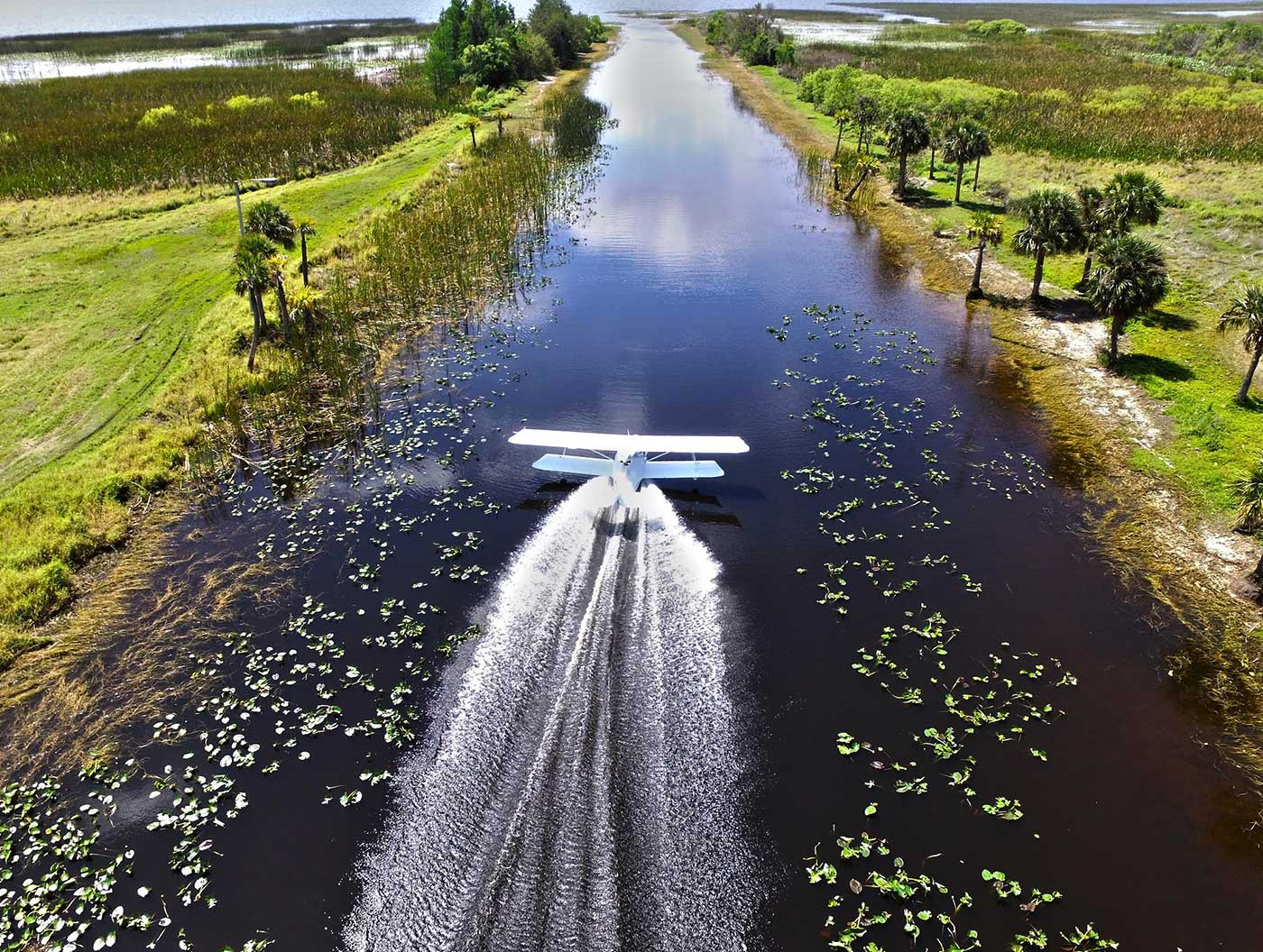 Taking off from a canal